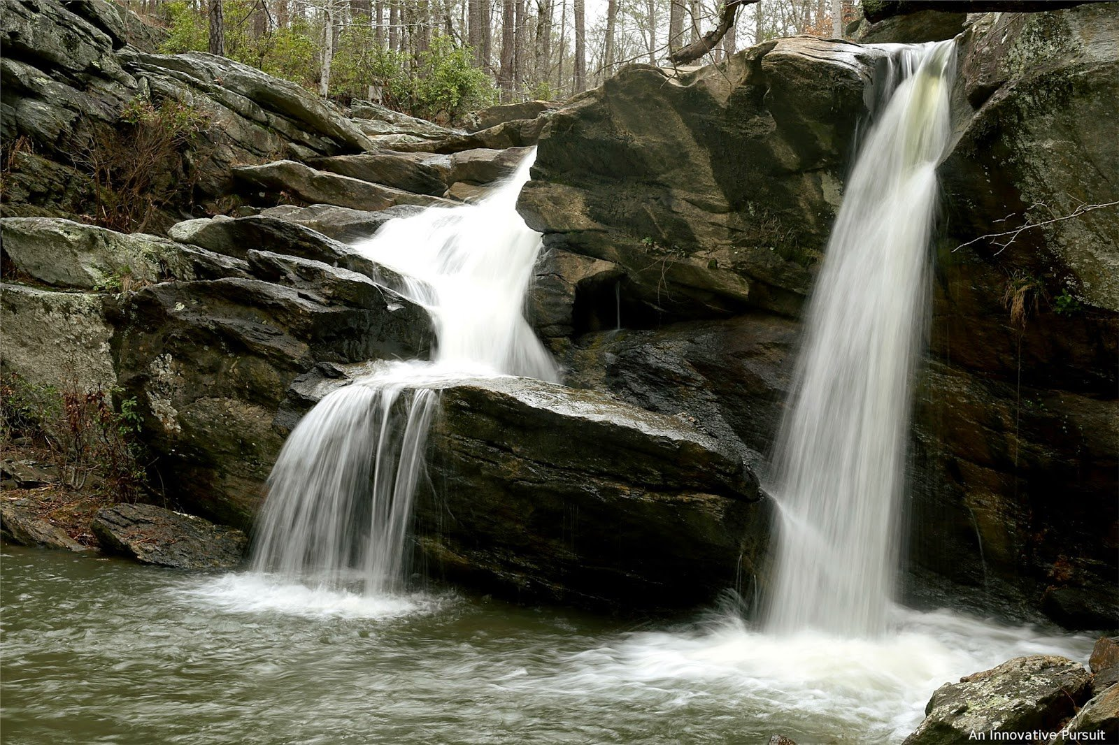 A 20-foot waterfall that spills from rocks along the Chinnabee Silent Trail.