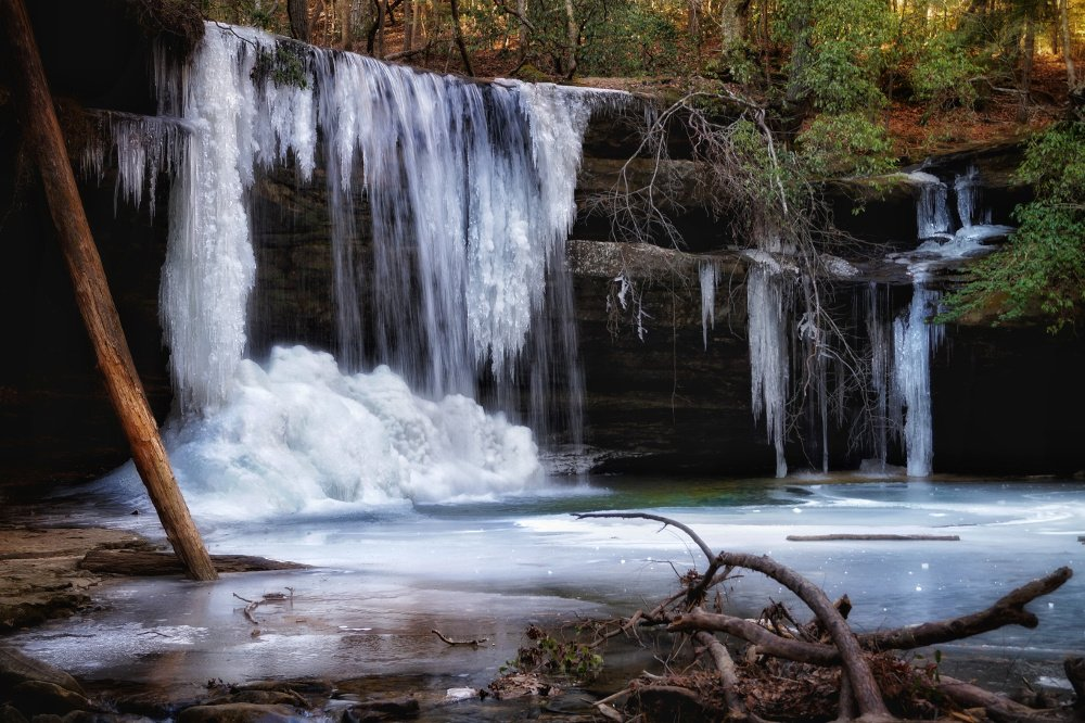 Caney Creek Falls iced over in Bankhead National Forest