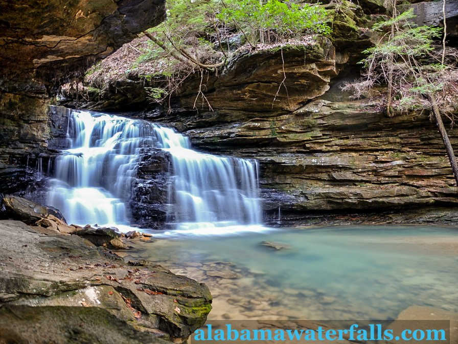 Mize Mill is a 20 foot falls and is the first stop in the Sipsey Wilderness when hiking towards Turkeyfoot Falls.